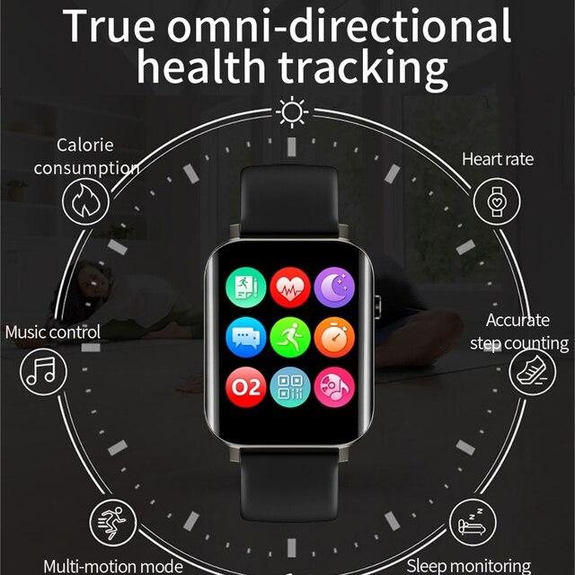 Correr velocidade relógio inteligente 1.7 Polegada hd tela de toque cheio freqüência cardíaca monitor oxigênio no sangue das mulheres dos homens smartwatch para android apple oppo 4