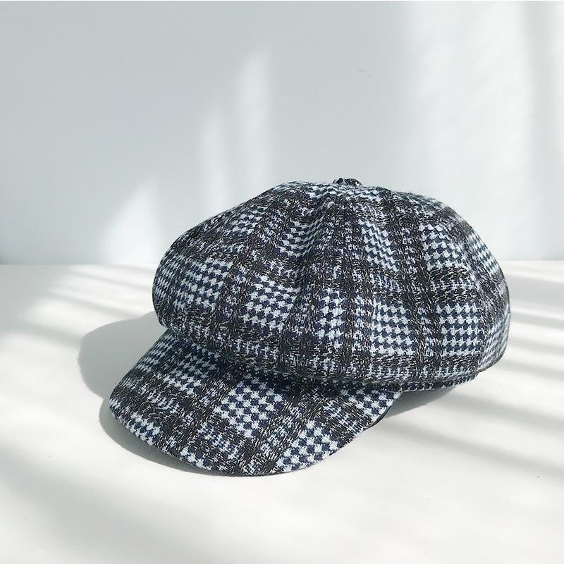 Берет в стиле винтаж шапки для женщин зима осень газетные шапки женские британский стиль плед хлопок восьмиугольная шапка береты шапка сохраняет тепло - Цвет: A