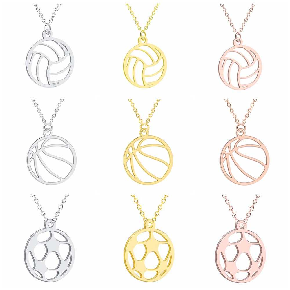 Siatkówka koszykówka piłka nożna naszyjnik wisiorek dla kobiet i mężczyzn ze stali nierdzewnej naszyjnik 3 kolory różowe złoto i srebro i złoto