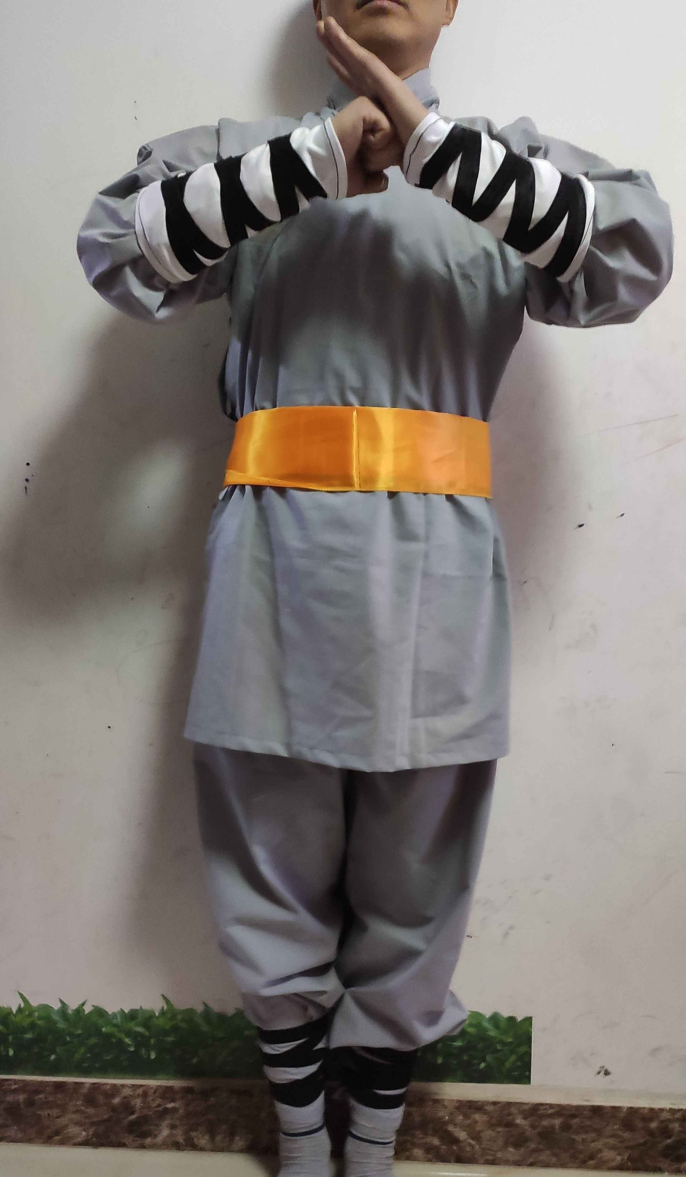 unisex Kids&adult cotton shaolin abbot monks kung fu exercise suits clothing sets Martial arts uniforms gray 5pcs/set