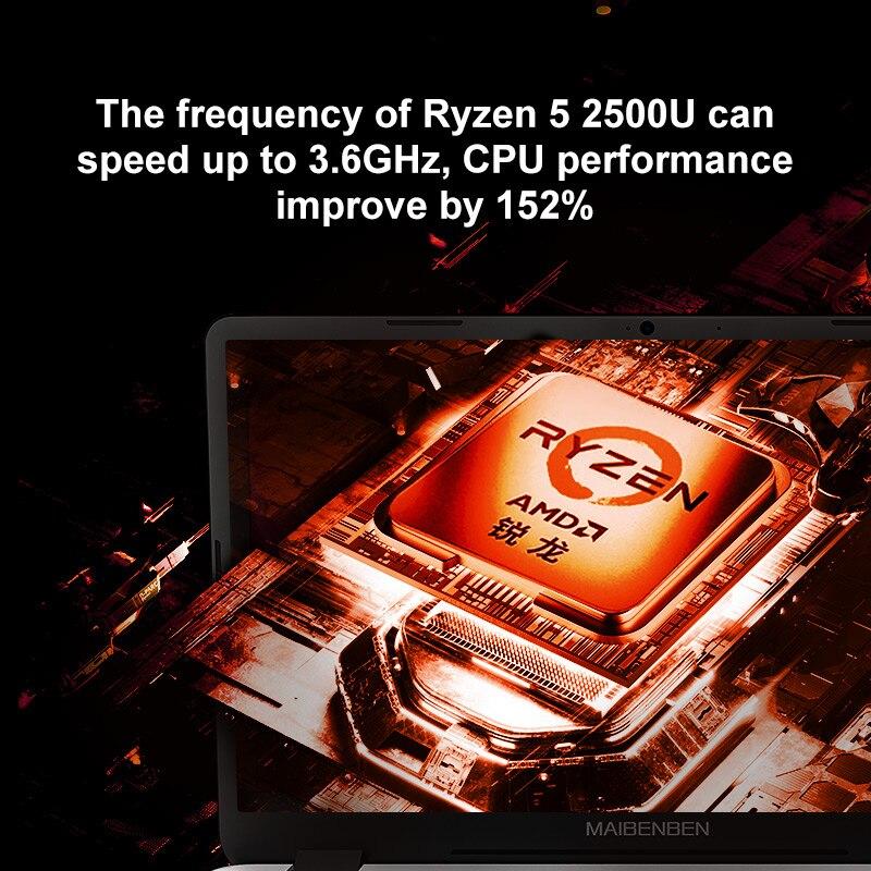 Ноутбук MAIBENBEN DaMai E526 [15,6-дюймовый FHD,Ryzen 5 2500U,8G + 256G/512G PCI-E SSD,Linux/Windows10] Быстрая доставка