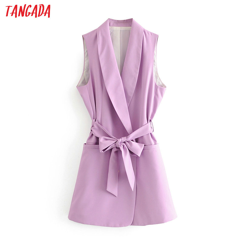 Tangada Woman Purple Long Vest Coat With Slash Office Ladies Waistcoat Sleeveless Blazer Double Breasted Elegant Top 3H582