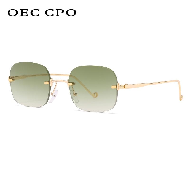 OEC CPO-gafas de sol sin montura pequeñas para mujer y hombre, lentes de sol cuadradas estilo Retro Punk, con degradado, marca de diseñador, UV400