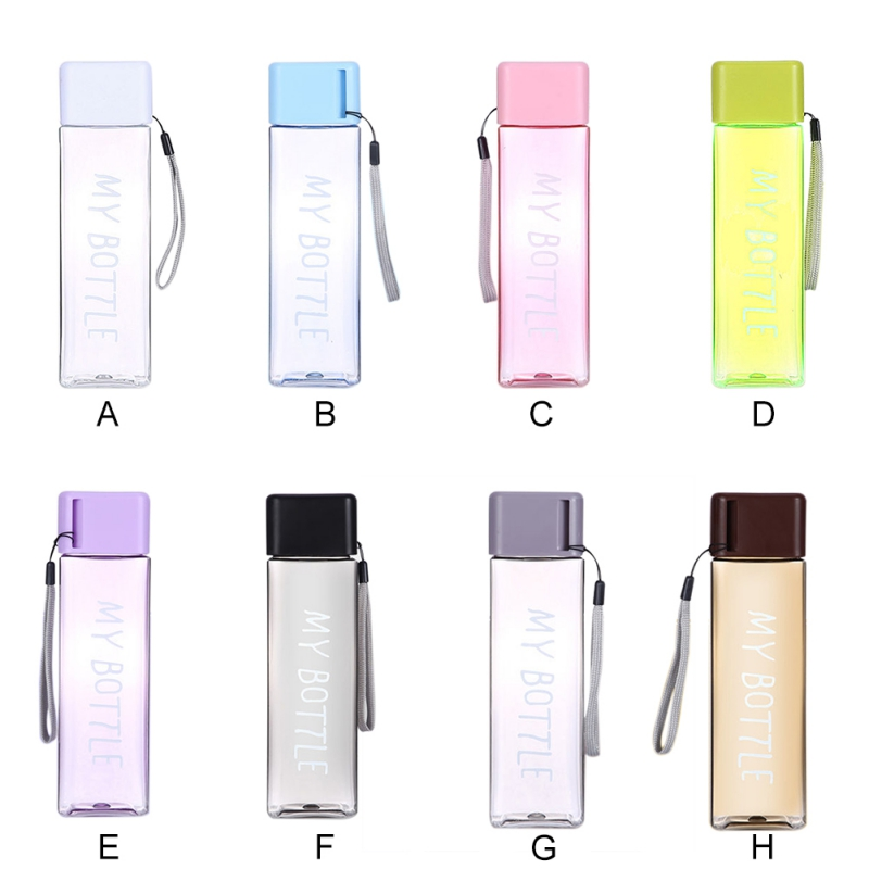 Portable Water Bottle Square Plastic Milk Storage Sports Drinking Hydro Flask Clear Cup Travel Bottle For Water For Home Office