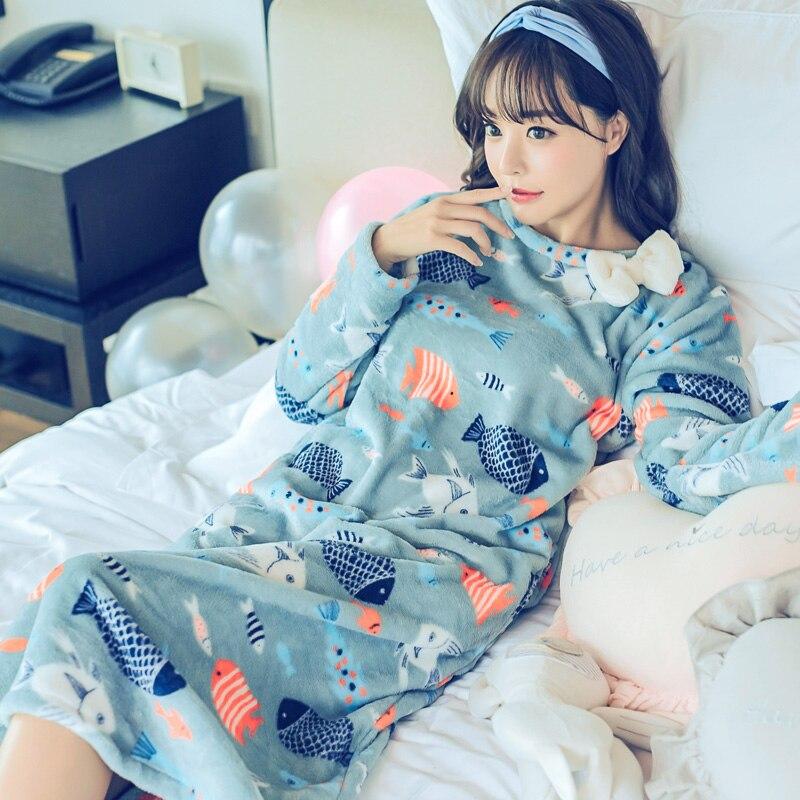 Women Cute Winter Cartoon Flannel Nightgown Coral Fleece Nightdress Long Nightwear Sexy Long Night Dress Female Sleepwear M-XL