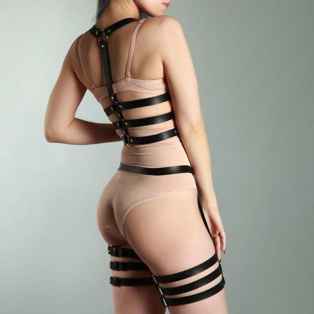 2 pièces ensemble Lingerie Sexy femmes en cuir PU harnais jarretières Bondage Punk gothique ceinture fétiche Bdsm corps taille bretelles
