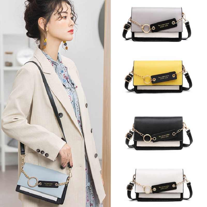 Nuevo bolso bandolera de cuero con puntadas de Color para mujer 2019 bolso de hombro con cadena bolsos y bolsos para mujer solapas pequeñas para mujer