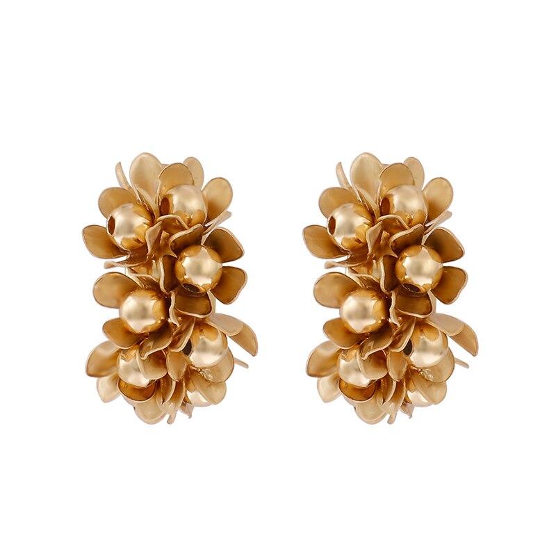 AENSOA 2019 Europe Vintage Gold Color Metal Flower Big Stud Earrings For Women Fashion Small Statement Earrings Oorbellen