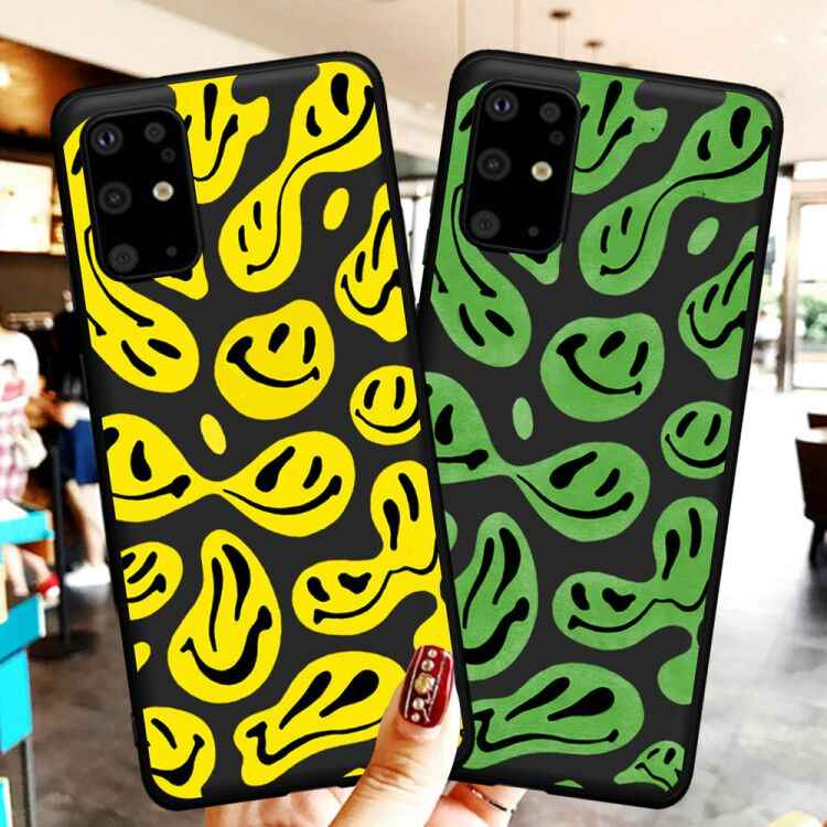 Funny Smiley Face Pattern Smiley Black Phone Case For Samsung S21 S20 S8 S9 S10 Plus Note 9 10 20 Ultra Soft TPU Coque Fundas