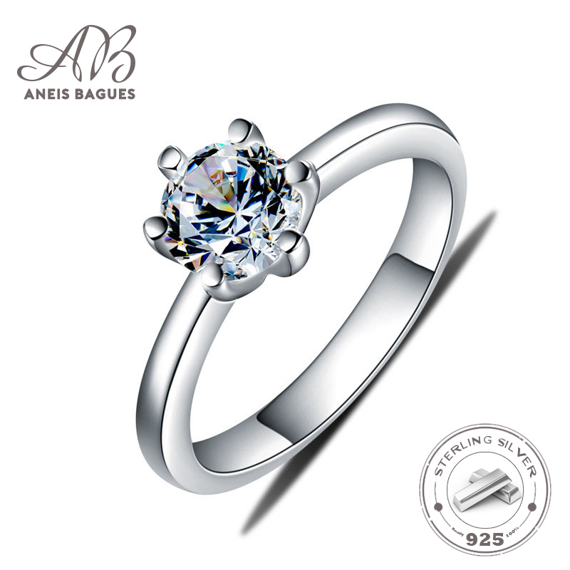 Aneis Bagues Silver 925 Jewelry Ring Moissanite Trendy Classic 925 Sterling Silver Rings Jewelry Woman Engagement Fine Jewelry