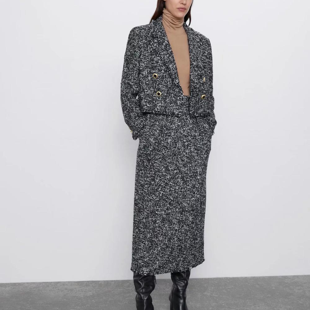 ZA Autumn Winter Women's Suit  Casual Chic Coat Tweed Jacket Female Button Decoration Wool Blazer Outwear Woman Set Clothes