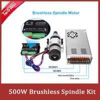 Brushless 500W CNC Router Spindle ER11 or ER16 High speed Motor + Clamp Bracket + brushless Motor Driver + Power Supply