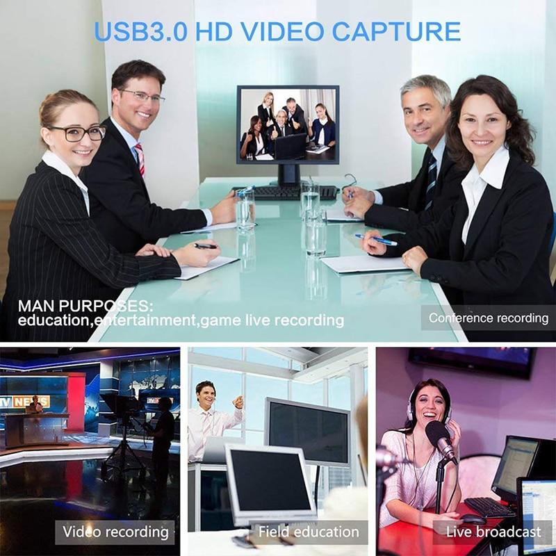 USB 3,0 captura de vídeo HDMI a tipo-C USB 3,1 HD 1080P Tarjeta de captura de vídeo para PC TV PS4 juego Stream en vivo para Windows Linux Os X - 6