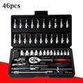 46 pçs chave conjunto de ferramentas mão cabeça lote catraca aço carbono pawl soquete chave chave de fenda da motocicleta conjunto de ferramentas de reparo do carro