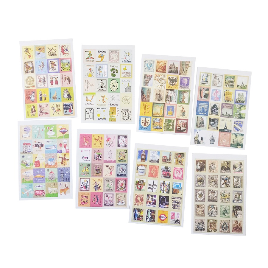 4sheets/lot Stamp Shaped Stickers Cartoon Various Stickers Multi-purpose Stickers Give A Friend's Teacher As A Gift