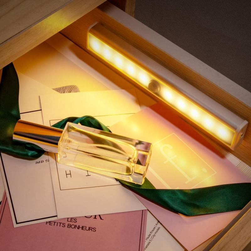USB Rechargeable 10 LED Motion Sensor Closet Light Wireless LEDs Night Lamp For Under Cabinet Wardrobe Kitchen Home Lighting