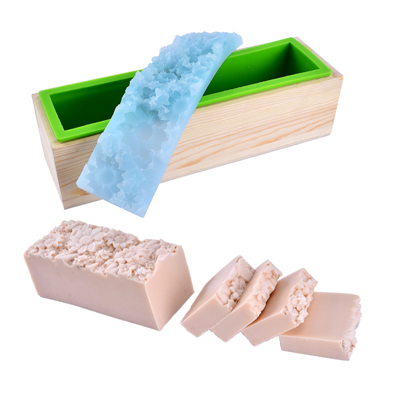 Nicole Soap Mold Flexible Silicone Mould With Wooden Box And Embossed Mat DIY Handmade