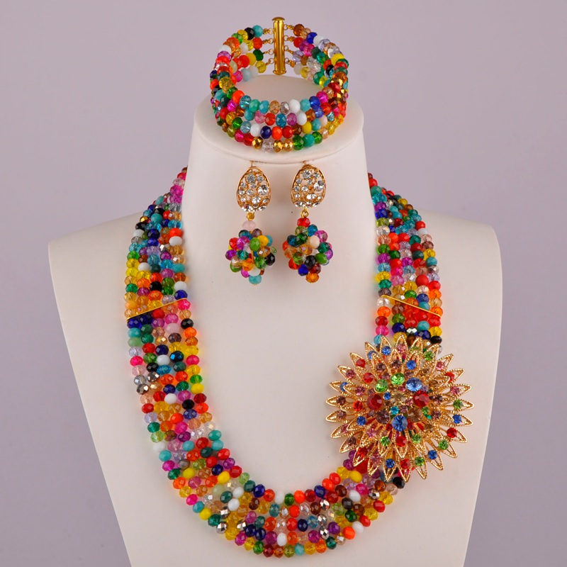 Nueva Moda Negro Mujer Mixta Multicolor Crystal Bead Nigerian African Wedding Jewelry Bead Set ABD179
