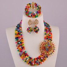 The latest Coral Gold Champagne Women Stylish Crystal Bead nigerian wedding african beads jewelry set ABD179 2018 nigerian wedding african beads jewelry set brand woman fashion dubai gold color jewelry set nigerian wedding bridal bijoux