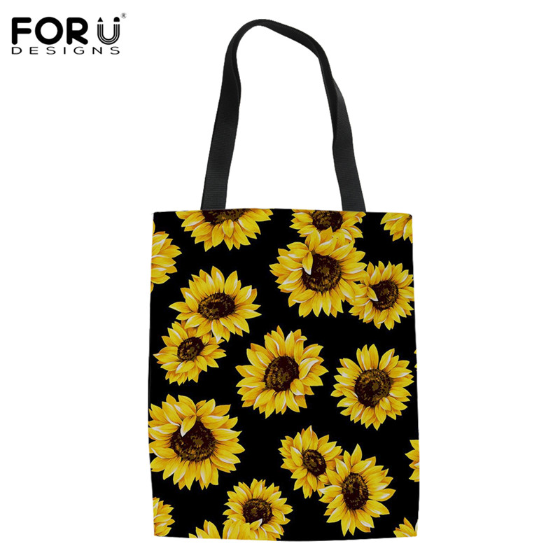 FORUDESIGNS Female Sunflower Design Soft Portable Eco-Friendly Grocery Bags Reusable Tote Fabric Shoulder Stachels For Ladies