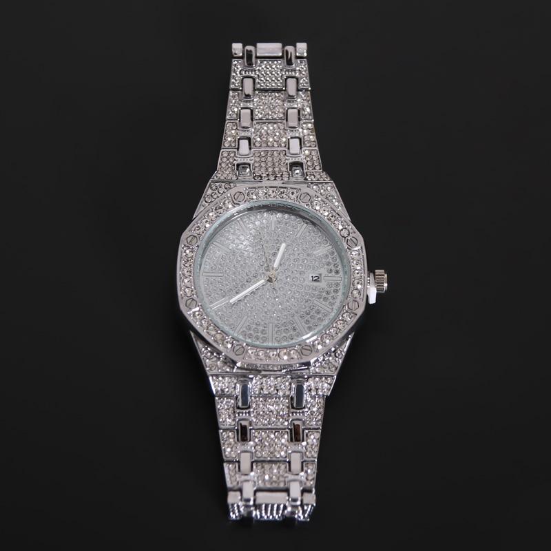 16MM Men Diamond Watch Quartz Gold Hip Hop Luxury Brand Wristband Watches With Micropave CZ Stainless Steel Watch Clock Relogio