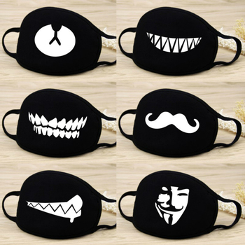 Cute Black Unisex Fashion Breathable Printed Masks For Men And Women