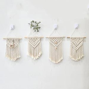 Image 1 - INS Hand woven Cotton Small Wall Tapestry Childrens Room Boho Decor Photo Props Nordic Headboard Macrame Wall Hanging