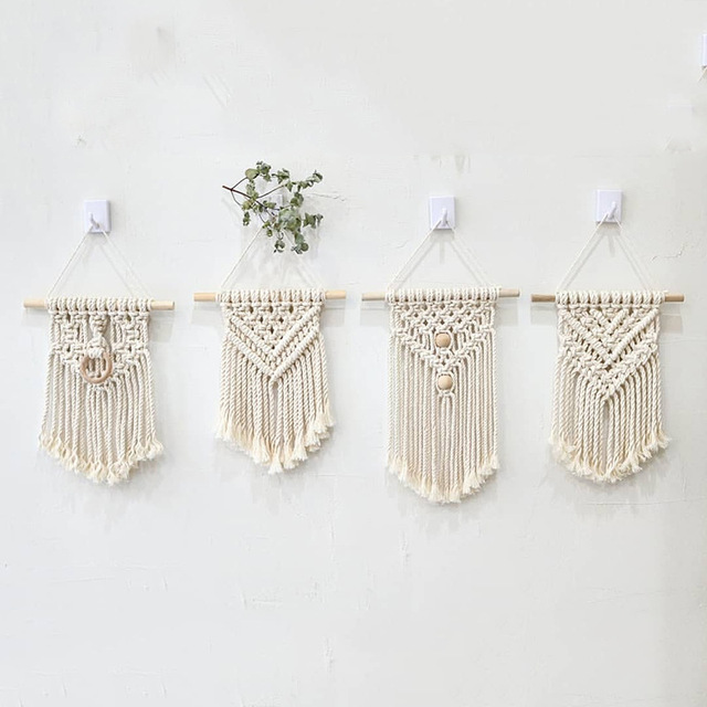 INS Hand woven Cotton Small Wall Tapestry Childrens Room Boho Decor Photo Props Nordic Headboard Macrame Wall Hanging