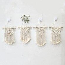 INS ręcznie tkane bawełniane małe gobelin ścienny pokój dziecięcy wystrój w stylu boho rekwizyty fotograficzne Nordic zagłówek makrama ściany wiszące