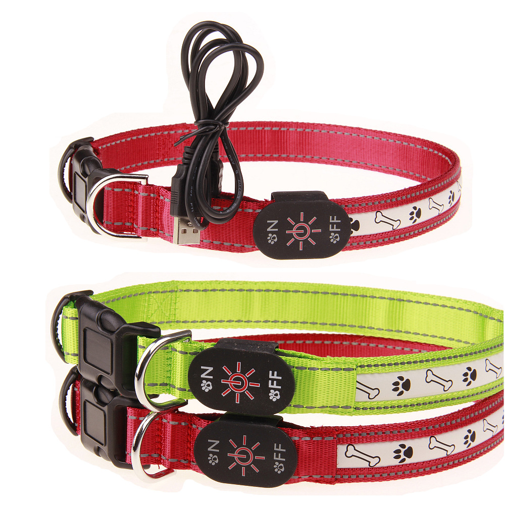 Bone Footprints LED Shining Charging Dog Collar 2 PCs Color 3 PCs Specification Flash Bite-proof Protector