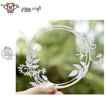 Piggy craft corte de metal morre molde outono carta folha anel scrapbook papel ofício faca molde lâmina punch stencils dados