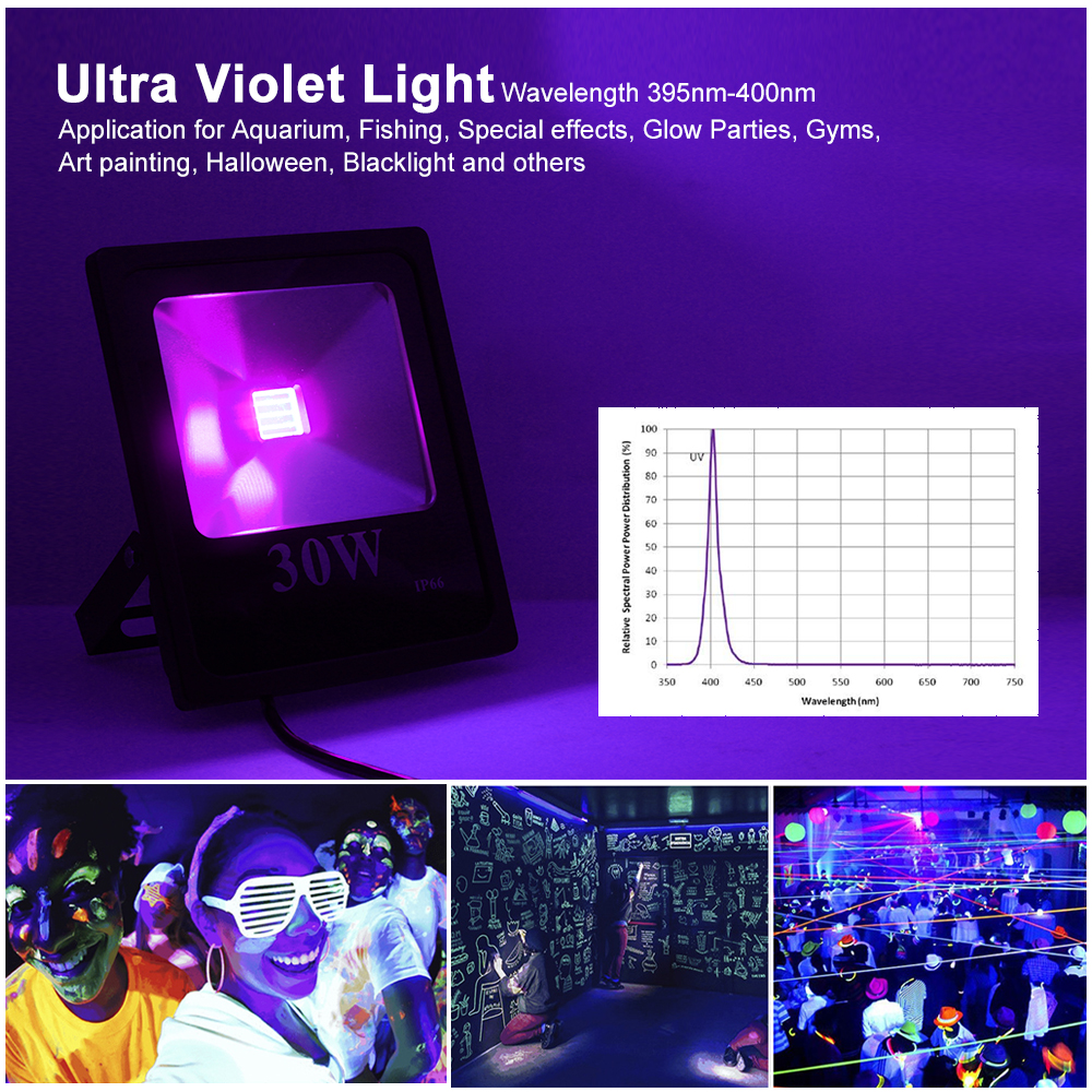 UV LED Floodlight 20W 30W 50W 100W High Power Waterproof Ultra Violet Fluorescent Flood Light Stage Lamp for Bar Halloween Party