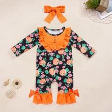Muqgew для новорожденных детская одежда для девочек для малышей, для маленьких девочек s Хэллоуин Тыква печати комбинезон+ повязка на голову, одежда# SS