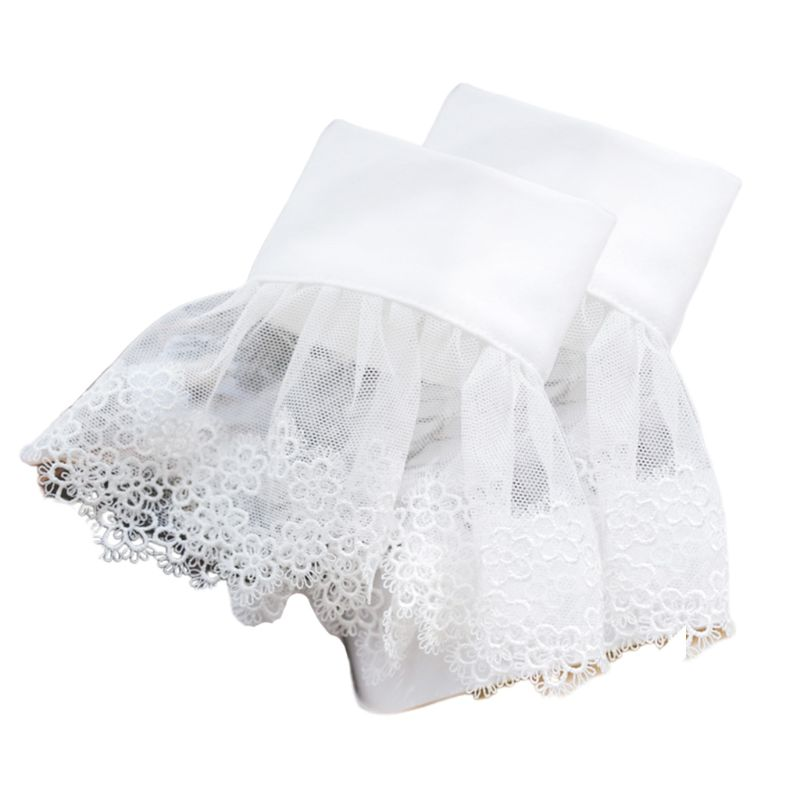 Women Girls Sheer Mesh Hollow Out Floral Lace Flared Cuffs Scalloped Pleated Sweater Decorative Fake Sleeve