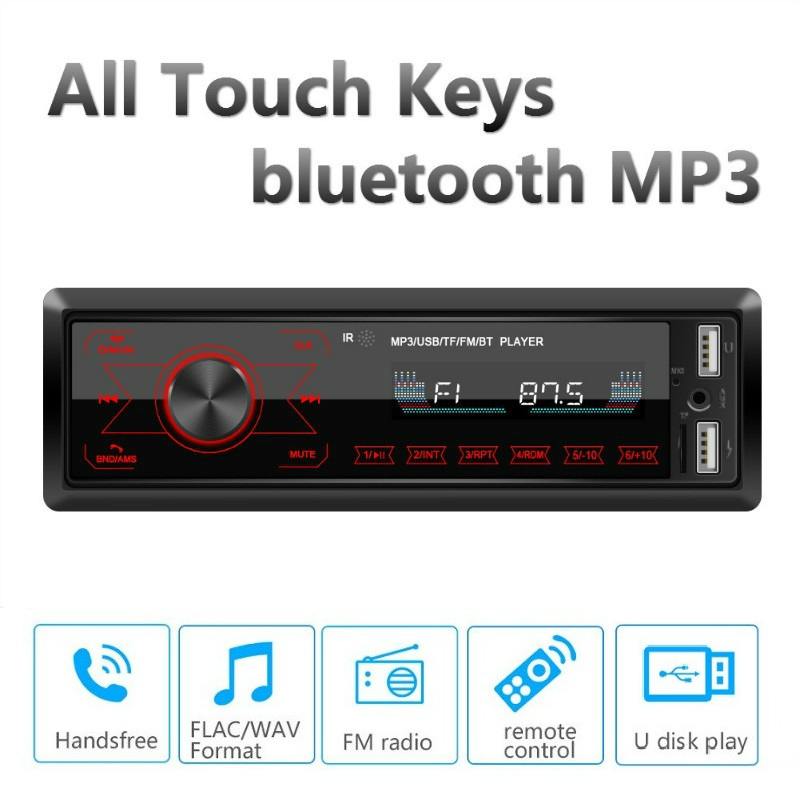 M10 <font><b>Car</b></font> Stereo Radio Receiver Auto MP3 <font><b>Player</b></font> bluetooth Hands-free Support All Touch Keys <font><b>Car</b></font> <font><b>Audio</b></font> FM USB SD AUX U Disk 12V image
