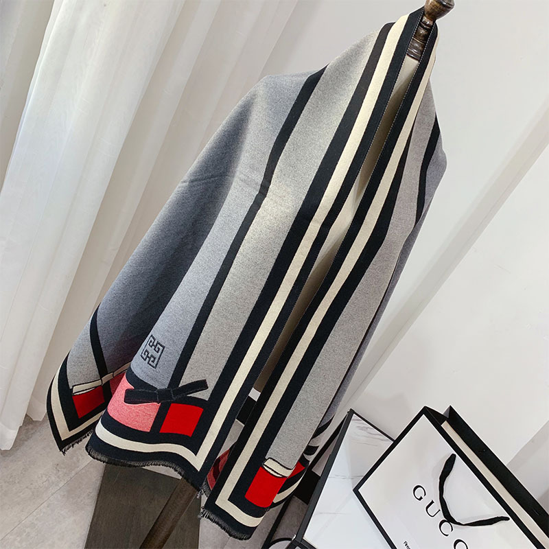 Autumn and winter ladies warm thick cashmere scarf Elegant bow print long shawl Pashmina