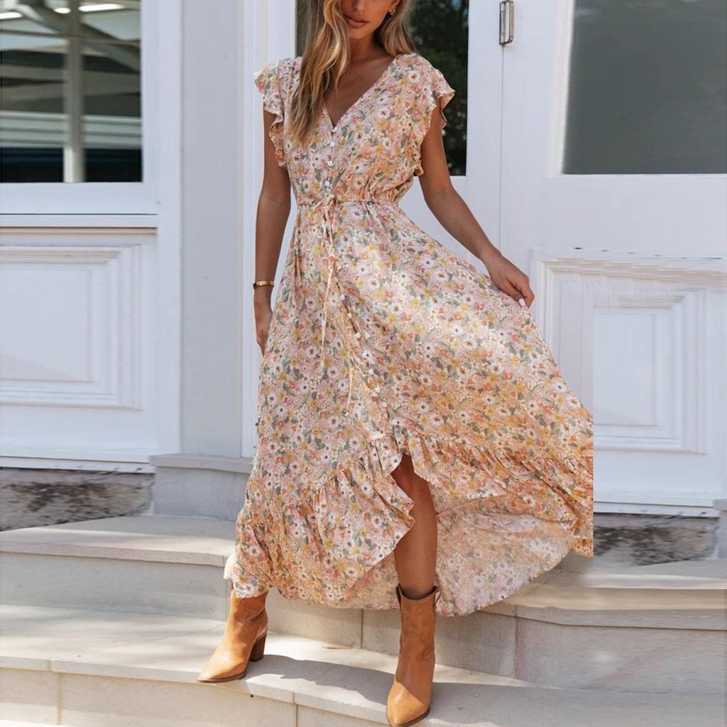 Женское длинное шифоновое платье с цветочным принтом, богемное платье с коротким рукавом, макси платье в стиле бохо, сарафан с оборками, Vestido # J30, лето 2020|Платья|   | АлиЭкспресс