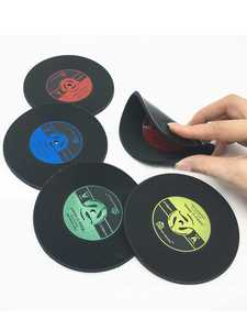 Placemat PVC Coaster-Set Table-Cup Mat Coffee Drinks-Mat Glass Vinyl Record Retro Home-Decor