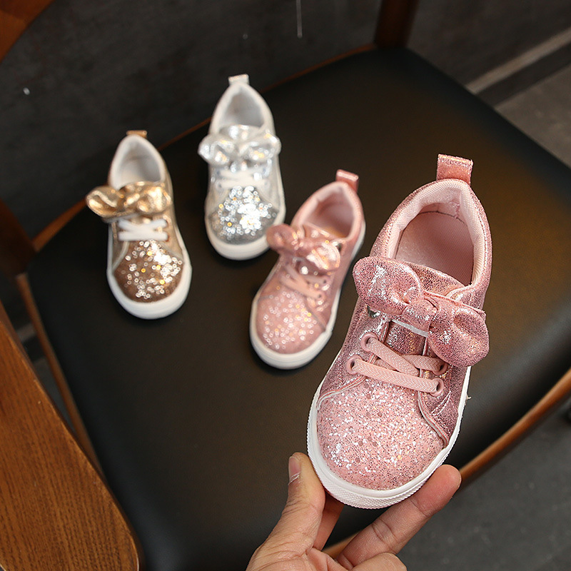 Girls Sneakers 2019 Fashion Sequined Children's Casual Shoes Sneakers Bow Children's Shoes Kids Sneakers