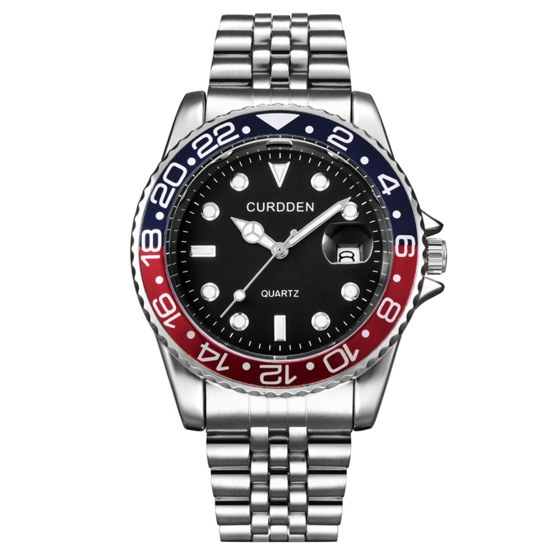 Men Stainless Steel Sport Watch Rhinestone Dial Calendar Quartz Wrist Watch Luxury Bezel Pattern Fashion Business Watches