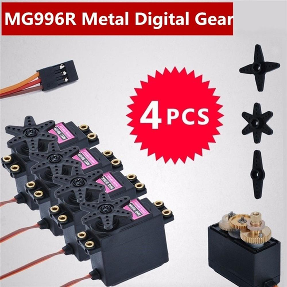 New 4pcs MG996R Metal Gear MG995 Digital Torque Servo Motor For RC Truck Racing ,Boats,Racing Cars,Helicopters And Airplanes