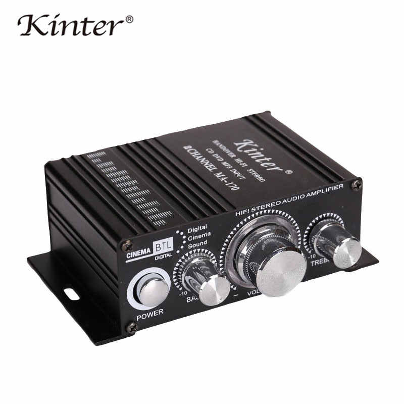 Kinter مضخم الصوت الصغير speaker 2 قنوات MA-170 المنزل دراجة نارية مضخمات الصوت للسيارة صوت ستيريو DC12V كابل إمداد الطاقة