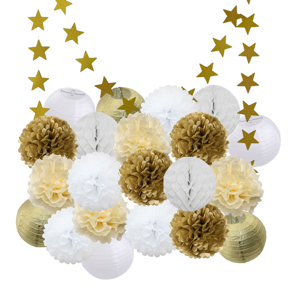 Kids Graduation Party Favor Gold White Round Lantern Baby Boy Girl Birthday Decoration Hanging Paper Crafts EID Decor Ornaments