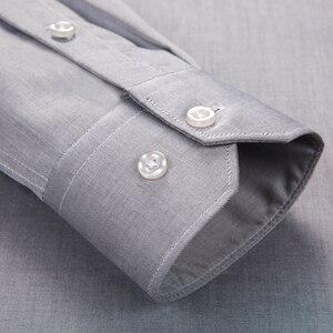 Image 4 - Мужская немнущаяся рубашка с длинным рукавом, Классическая формальная Классическая рубашка из 100% хлопка, с одним накладным карманом, Осень зима 2019