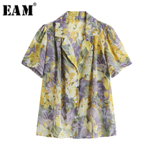 [EAM] Women Yellow Pattern Printed Chiffon Big Size Blouse New Lapel Short Sleev