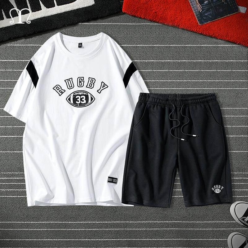 Fashion Men Set 2020 Two Pieces Hip Hop T Shirt Shorts Brand Clothes Male Sweatsuit High Street Tracksuits Mens Chandal Hombre