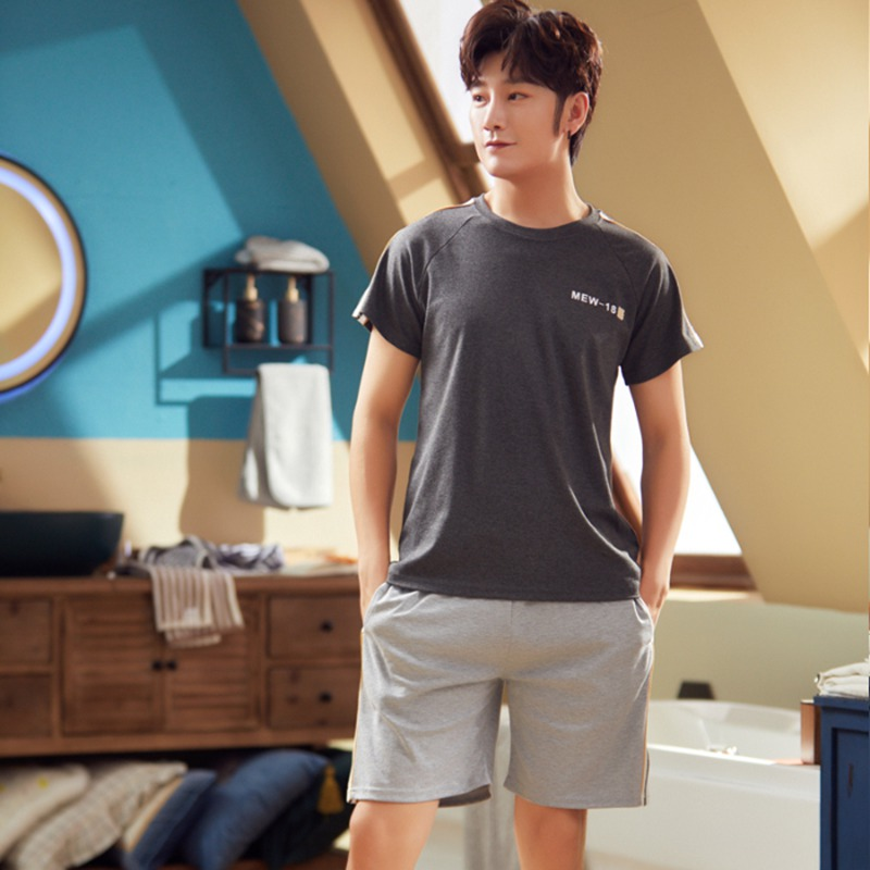 2020 Summer Short Sleeve Cotton Pajama Sets For Men Sleepwear Suit Pyjama Male Leisure Outwear Homewear Lounge Wear Home Clothes