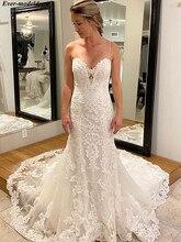 Appliques Lace Mermaid Wedding Dresses Spaghetti Strap Sweep Train Plus Size Bridal Gowns Bride Dress vestidos de novia 2020