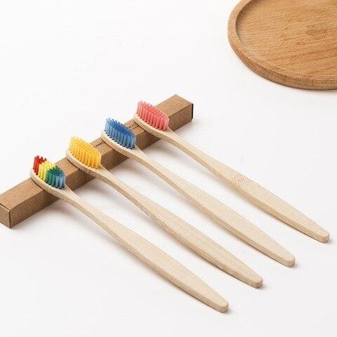 100 pacote de bambu natural escova de dentes de madeira escovas de dentes cerdas macias