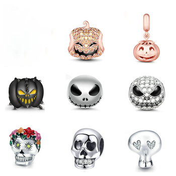 """Jack Skull"" Black 925 Sterling Silver Beads Devil Pumpkin Charms For Halloween With Cubic Zircon Fit PANDORA Bracelets"